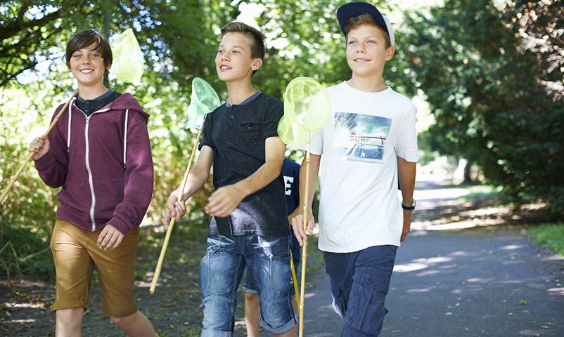Three boys with fishing nets